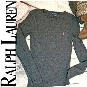 RALPH LAUREN GRAY SPORT SCOOP NECK PINK LOGO XS